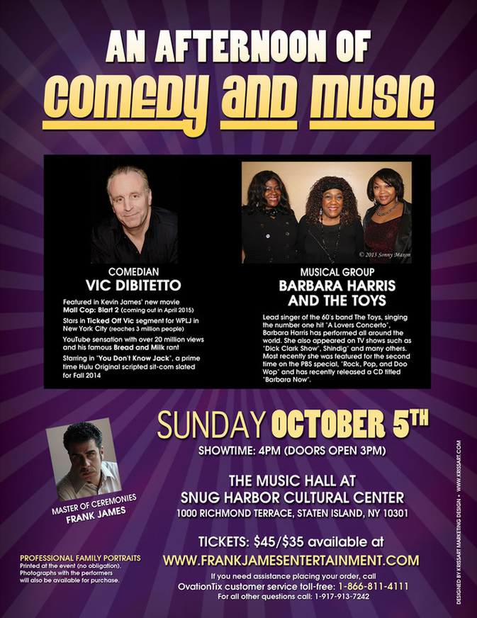 AN AFTERNOON OF COMEDY AND MUSIC - VIC DIBITETTO & BARBARA HARRIS AND THE TOYS
